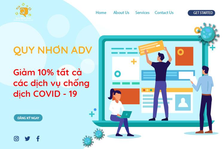 Quy Nhơn Adv đồng giảm giá 10% tất cả dịch vụ cùng chống dịch Covid-19