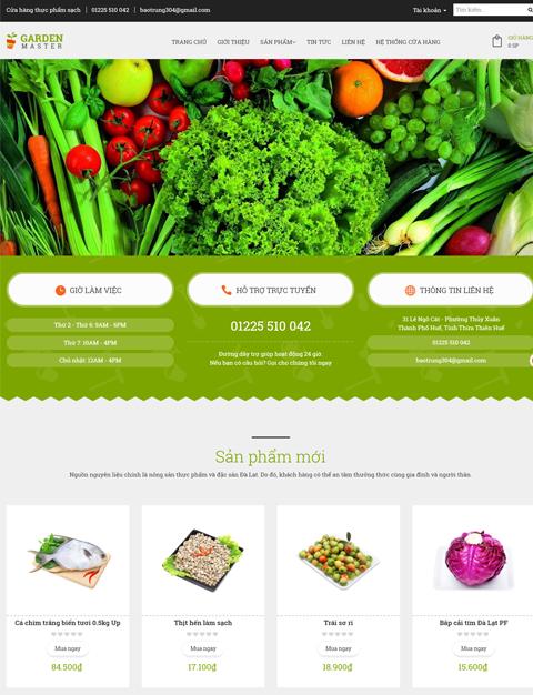 thiết kế website thực phẩm sạch Quy Nhơn